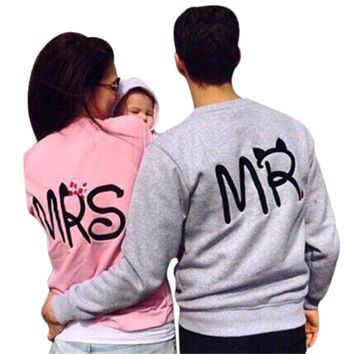 PINK GREY Couple Hoodies  Sweatshirt Long SLeeves