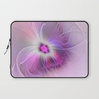 Abstract Flower With Pink And Purple Fractal Laptop Sleeve by Gabiw Art
