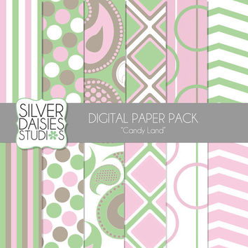 """Candy Land Digital Paper 12 Pack- 12""""x12"""" - INSTANT DOWNLOAD - Pantone Christmas Themed Set - Digital Scrapbooking - pink and green"""