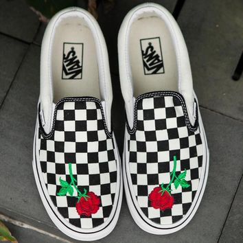 Vans Slip-On Canvas Rose Embroidery Tartan Sneakers Sport Shoes