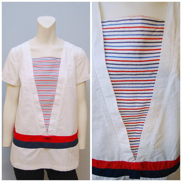 Vintage 1960's Nautical Tunic Shirt Blouse Red White and Blue V-Neck Phil Jacobs Mod Sailor Top Patriotic American Midcentury Striped Shirt