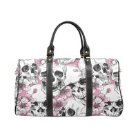 Skull & Flowers Design 1 Travel Bag Black