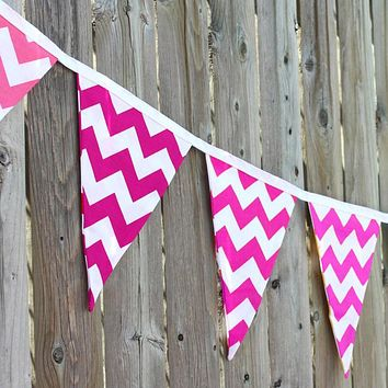 Hot Pink Chevron Party Bunting Banner (10.5 ft)