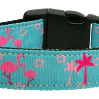 Nylon Collar and Leash: Pink Flamingos (Size Med & Lg)
