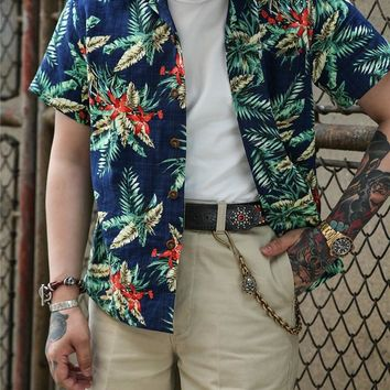 Men Floral Aloha Hawaiian Tropical Button Down Short Sleeve Shirt Summer Beach Shirt