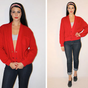 Vintage 50s UNISEX Red Cardigan, ROCKABILLY WOOL Sweater, Felt + Cable Knit Minimalist Letterman Jacket