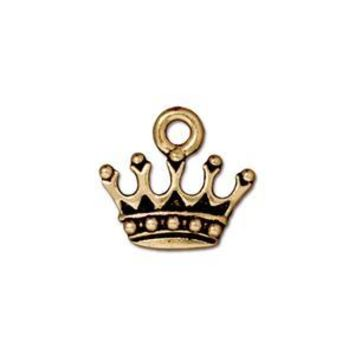 94-2279-26 - TierraCast Pewter King's Crown Charm, Antique Gold | Pkg 2