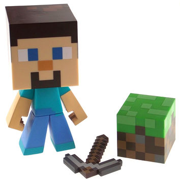"Minecraft Steve 6"" Vinyl Figure Pixaxe 2"" Dirt Block Poseable Jinx Mojang Toy"