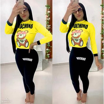 MOSCHINO Women Fashion Long Sleeve Top Pants Two-Piece
