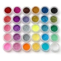 Fräulein3°8 30PCS GLITTER NAIL ART POWDER IN CASE: Amazon.co.uk: Beauty