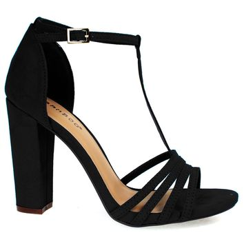 Limelight03M Black By Bamboo, Open Toe Sandal, T-Strap Ankle Strap, Chunky Block Heel, Women Shoes