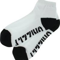 Grizzly Stamp Lo Cut Socks White/Black 1 Pair