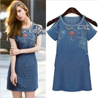 Dark Blue Floral Patchwork and Cut-Out Shoulder Denim Mini Dress