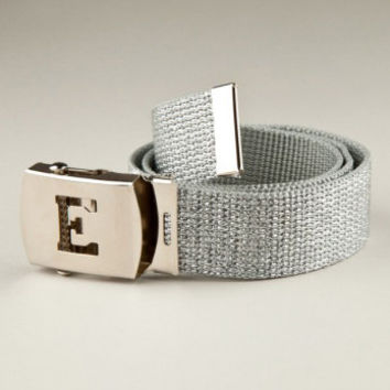 GIRLS Glitter SILVER metallic INITIAL belt - All letters of the alphabet available