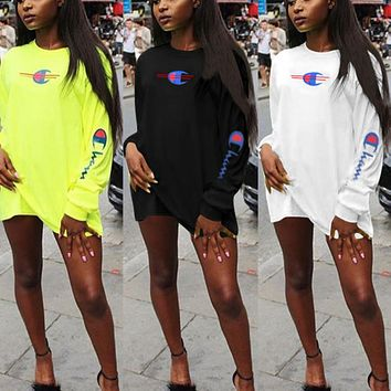 Champion Summer Fashion Women Casual Print Long Sleeve Round Collar Dress