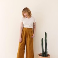 Ali Golden Front Pleat Pant - Mustard on Garmentory