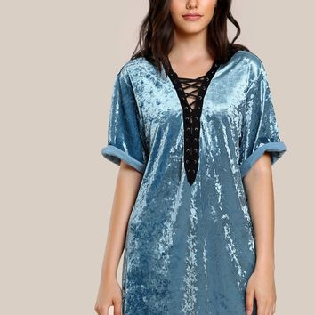 Velvet lace up style tshirt dress