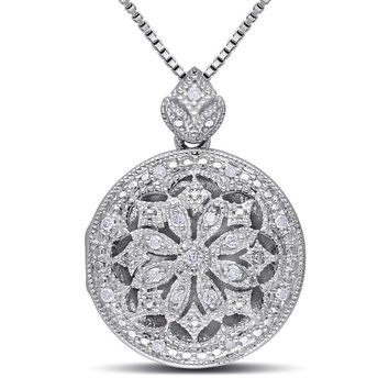 Diamond Accent Vintage-Style Frame Flower Locket in Sterling Silver|Zales
