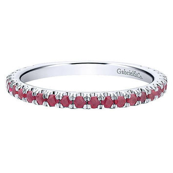 14K White Gold Ruby Stackable Birthstone Ring