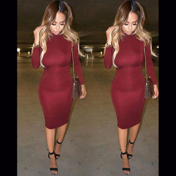 Women's Fashion Winter High Waist Long Sleeve One Piece Dress =