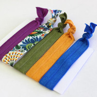 Set of 5 Peacock Hair Ties, Ponytail Holders, FOE Hair Ties, Hair Bands, Ribbon Hair Ties, Knotted Hair Tie, Yoga Hair Ties, Cloth Hair Ties