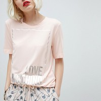 Love Moschino Square Logo T-Shirt at asos.com
