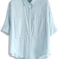 Chic Patches Batwing Top in Blue
