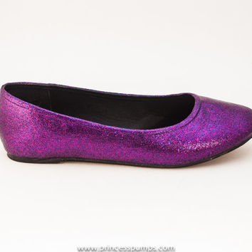 91d0a19ddf8c Sequin Grape Purple Slipper Ballet Flats from Princess Pumps
