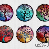 CURLY TREES set 4  set of 6 pin back buttons by jessejanes on Etsy