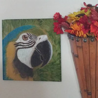 """Macaw - Alcohol Ink on Ceramic 13"""" x 13"""" Tile"""
