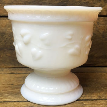 Vintage Milk Glass Bowl with Hearts Vines