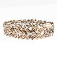 Leaves and Vines Nature Fashion Stackable Bangle Bracelet in Brushed Silver or Brushed Gold Tone