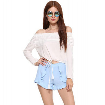 Fashion Simple Solid Color Frills Chiffon Wide Leg Pants Shorts Leisure Pants