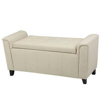 Arthur Beige Tufted Fabric Armed Storage Ottoman Bench