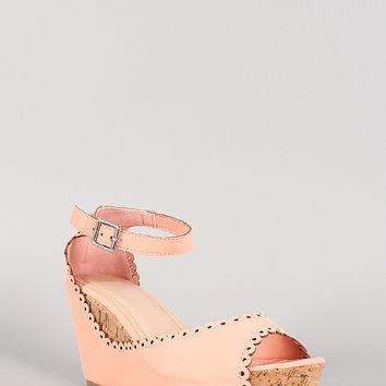 Bamboo Scallop Nubuck Cork Peep Toe Wedge