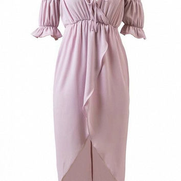 Purple Wrap Off Shoulder Lantern Short Sleeve Asymmetric Hem Dress