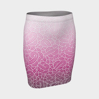 Ombre pink and white swirls doodles Fitted Skirt Fitted Skirt