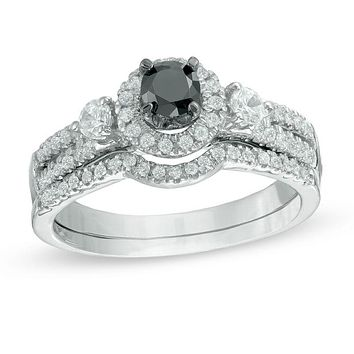 Black and White Diamond Halo Bridal Engagement Ring Set in 14K White Gold