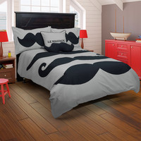 Le Moustache Gray Full Size Kids Comforter Bed Set