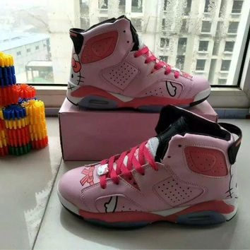 """Nike Air Jordan"" Hello Kitty Women Sport Fashion Air Cushion High Help Sneakers Basketball Shoes"