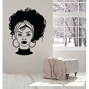 Vinyl Wall Decal Beautiful African Girl Afro Hairstyle Beauty Salon Stickers Mural (g2687)