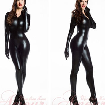 WOMEN'S Fashion Goth Punk PU Faux Leather Catsuit Teddy Zipper to Crotch Overall Catsuit jumpsuit  (Size: M, Color: Black)