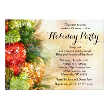 Elegant Christmas Tree Holiday Party 5x7 Paper Invitation Card