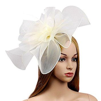 Urban CoCo Womens Elegant Flower Feather and Veil Fascinator Cocktail Party Hair Clip Hat