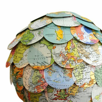 The World Trip Lamp Shade Vintage Map Lampshade Hanging Paper Lantern Eco Home Made to Order