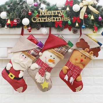 Top Sale Kids Xmas Decoration Candy Bag Christmas Stocking Santa Claus Sock Gift Bag Bauble Christmas Tree Ornaments
