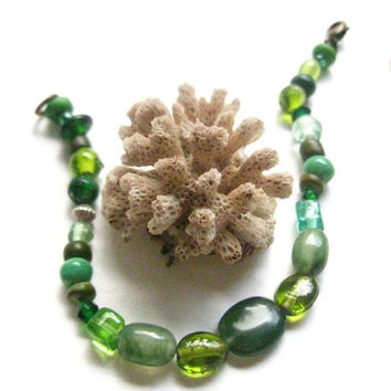 Shades of Green glass Beaded Bracelet, olive, chartruese , emerald  frosted glass beads, antique bronze lobster clasp