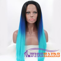 "24"" Long Straight without Bangs Synthetic Wigs for Women Lace Front Wigs Colorful"