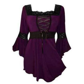 Lace Up Dress Cotton Gothic Plus Size Flare Bell Sleeves Square Collar