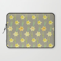 Yellow Watercolour Stemmed Daffodil Pattern Laptop Sleeve by Tanyadraws